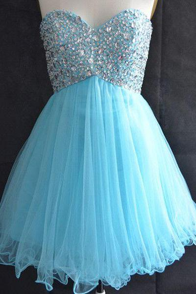 Blue Homecoming Dress,Tulle Homecoming Dresses,Sparkly Homecoming Gowns,2015 Fashion Prom Gown,Sweetheart Sweet 16 Dress,Crystals Homecoming Dresses,Tulle Cocktail Dress,Parties Gowns,Evening Gowns