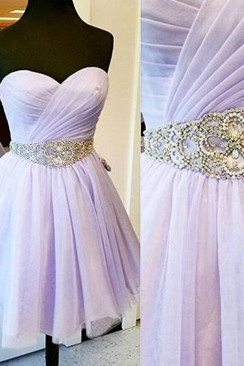 Lilac Homecoming Dress, Homecoming Gown,Tulle Homecoming Gowns,Party Dress,Strapless Prom Dresses,Ruffled Cocktail Dress,Formal Gown