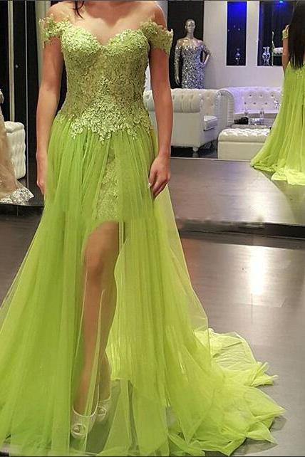 Prom Gown,Bud Green Prom Dresses With Lace,Off The Shoulder Evening Gowns,Mermaid Formal Dresses,Lace Prom Dresses 2016