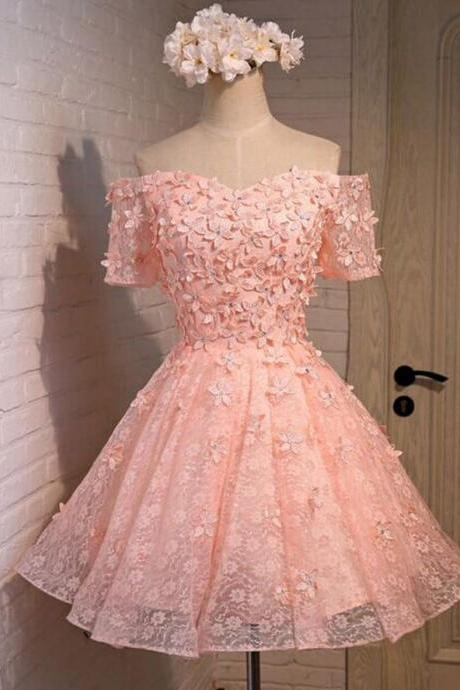 Blush Pink Homecoming Dress,Short Tulle Prom Dresses,Homecoming Gowns,Homecoming Dresses,Formal Dresses,Lace Graduation Dresses,Sweet 16 Gown