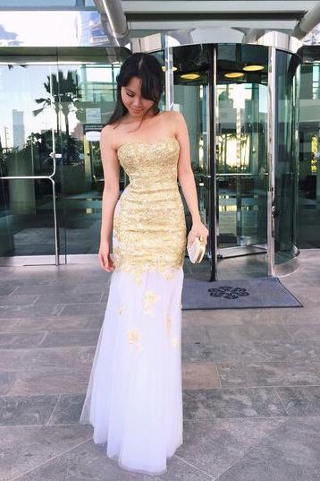 White Prom Dresses,Mermaid Prom Dress,White Prom Gown,Lace Prom Gowns,Elegant Evening Dress,Modest Evening Gowns,Sexy Party Gowns,prom Dress