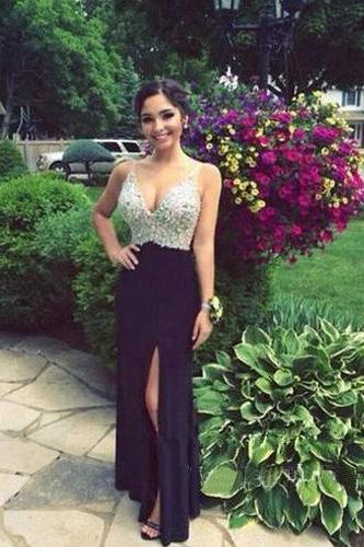 Black Prom Dresses,Beaded Evening Gowns,Sexy Formal Dresses,Sparkle Prom Dresses,Split Evening Gown,Slit Evening Dress,Sparkle Prom Gowns