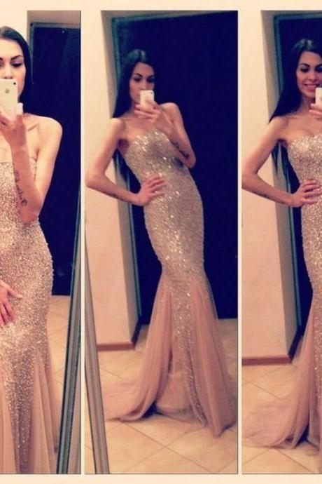 Champagne Prom Dresses,Mermaid Prom Gowns,Tulle Prom Dresses,Beading Prom Dresses,Mermaid Prom Gown,2016 Prom Dress,Evening Gonw With Silver Beading For Teens