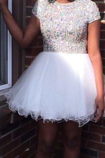 White Homecoming Dress,Sparkle Homecoming Dresses,New Style Homecoming Gowns,Fashion Prom Gowns,Classy Sweet 16 Dress,Silver Beading Homecoming Dresses,Organza Cocktail Dress,Evening Gowns