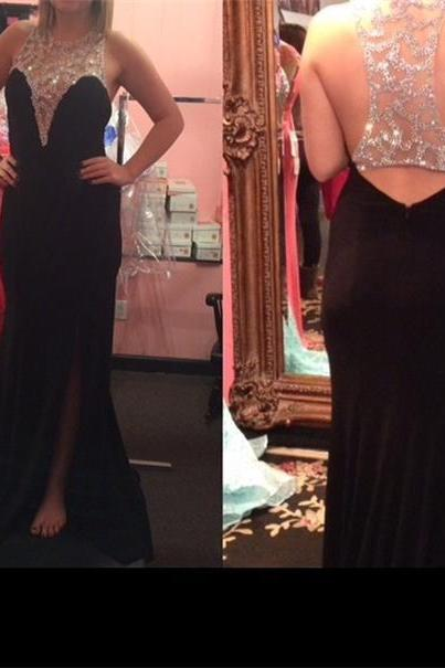 Black Prom Dresses,Backless Prom Dress,Chiffon Prom Dress,Mermaid Prom Dresses,2016 Formal Gown,Open Back Evening Gowns,Open Backs Party Dress,Prom Gown For Teens