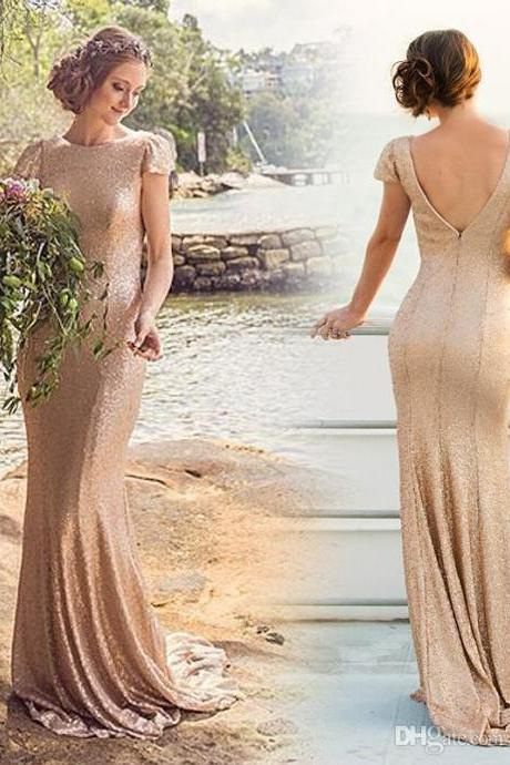 Custom Made Champagne Shimmery Cap Sleeve Long Evening Dress, Bridesmaid Dress, Prom Dresses, Cocktail Dress