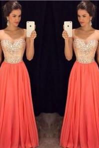 Coral Prom Dresses,Fitted Evening Gowns,Sexy Formal Dresses,Beaded Prom Dresses,Beadings Evening Gown,Modest Evening Dress,Chiffon Prom Dresses,Elegant Evening Dresses