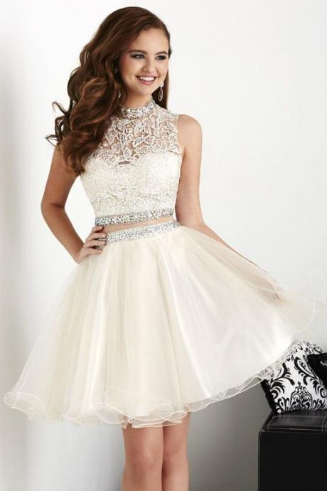 White Homecoming Dresses,Tulle Homecoming Dress,2 Pieces Prom Gown,Two Piece Cocktail Dresses,Lace Sweet 16 Gowns