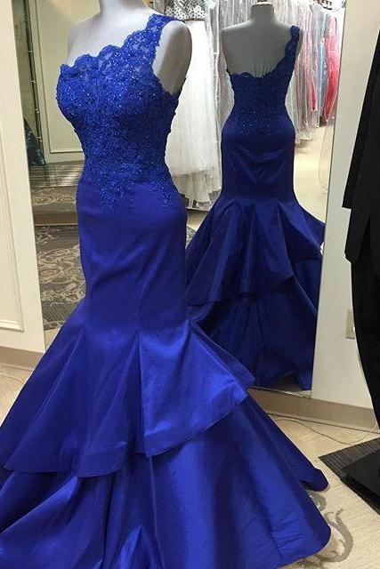 Mermaid Prom Gown,Royal Blue Prom Dresses,One Shoulder Evening Gowns,Simple Formal Dresses,One Shoulder Lace Prom Dresses