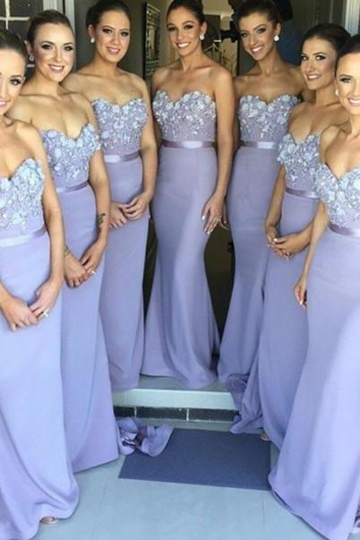 Custom Made Light Purple Sweetheart Neckline Chiffon Mermaid Bridesmaid Dress with Floral Apploque and Satin Sash