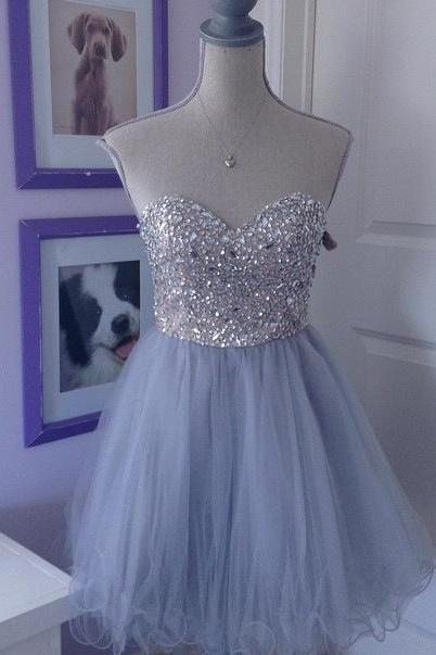 Homecoming Dress,Sweeetheart Homecoming Dresses,Tulle Homecoming Dress,Beaded Party Dress,Short Prom Gown,Sweet 16 Dress,Homecoming Gowns