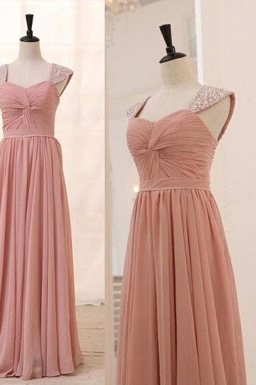 Blush Pink Prom Dresses,A-Line Prom Dress,Simple Prom Dress,Chiffon Prom Dress,Simple Evening Gowns,Cheap Party Dress,Elegant Prom Dresses,2016 Formal Gowns For Teens