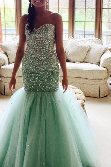 Mint Prom Dresses,Tulle Prom Dress,Sexy Prom Dress,Mermaid Prom Dresses,2016 Formal Gown,Beading Evening Gowns,Beaded Formal Dress,Prom Gown For Teens
