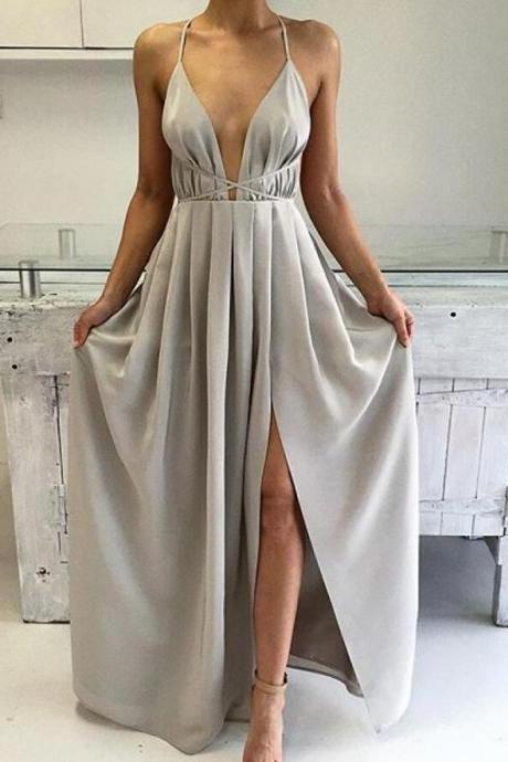 silver Prom Dresses,Split Prom Dress,Chiffon Prom Dress,Long Prom Dresses,2016 Formal Gown,Slit Evening Gowns For Teens