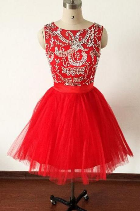 Red Homecoming Dresses,Tulle Homecoming Dresses,Short Graduation Dresses,Open Back Homecoming Dresses