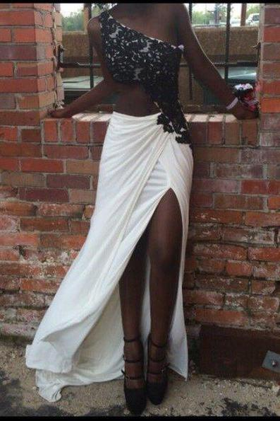 Black Prom Dresses,One Shoulder Prom Dress,Lace Prom Dress,Long Prom Dresses,Formal Dresses