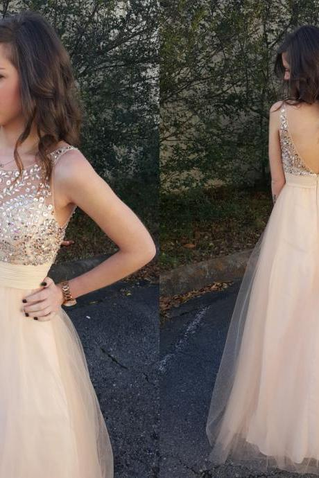 Light Champagne Prom Dresses,New Style Prom Gowns,Prom Dresses 2016,Beading Prom Dress,Prom Gown 2016,Tulle Prom Gown,Modest Evening Dress,Sexy Prom Dresses