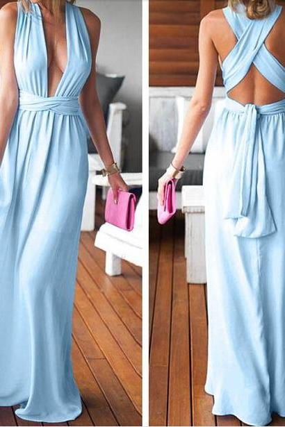 Sexy Blue Chiffon Long Prom Dress,Prom Dresses