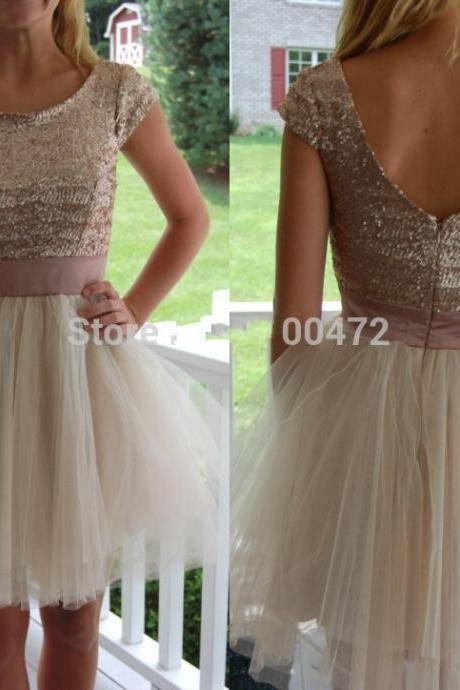 Short Homecoming Dress,Tulle Homecoming Dress,Cap Sleeve Homecoming Dresses