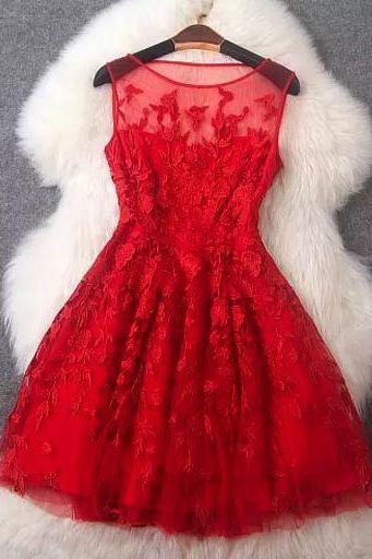 Charming Prom Dress,Tulle Prom Dresses,Short Prom Dress,Red Prom Dress