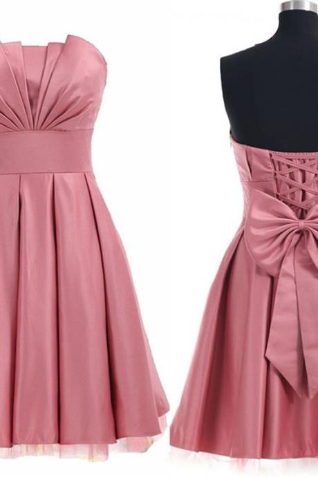 Strapless Satin Homecoming Dress with Pleated Origami Bodice