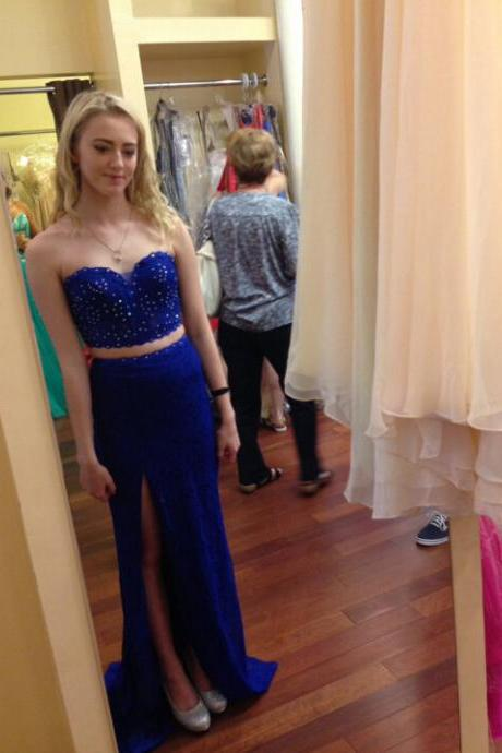 Charming Prom Dress,Royal Blue Chiffon Prom Dresses,Two Piece Prom Dress,Long Evening Dress,Girl Dress