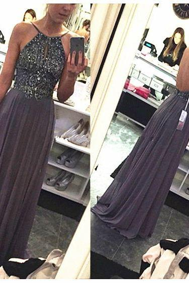 Grey Long Prom Dress,Sexy Prom Dress,Beading Prom Dresses,Backless Prom Dress