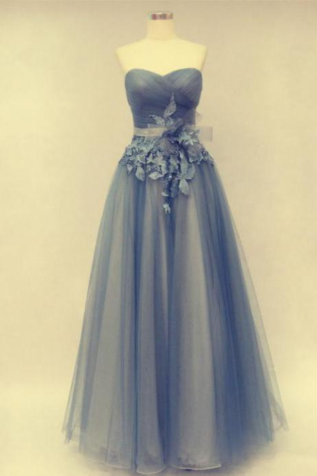 A-Line Prom Dress,Prom Dress With Flowers,Tulle Prom Dress,Sweetheart Prom Dress
