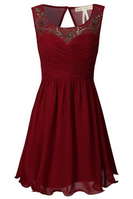 Burgundy A-line Sweetheart Chiffon Short Evening Dress with Beaded Illusion Neckline