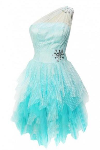 Cute A-line One-shoulder Light Blue Tulle Homecoming Dress with Beads