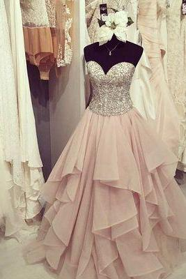 Gorgeous sweetheart ruffled long prom dress,evening dresses