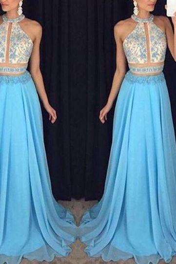 New Arrival Prom Dress,Blue sequins long prom dresses,elegant beading chiffon prom dresses,2016 evening formal gowns