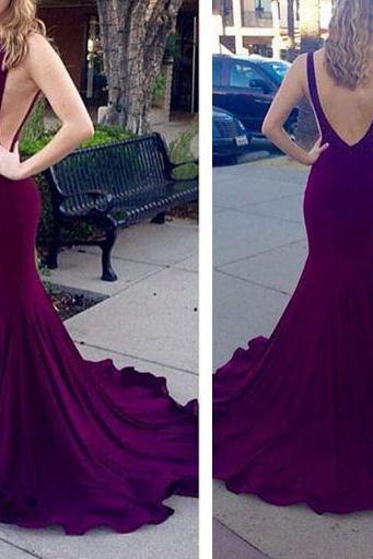 New Arrival Prom Dress,Purple long prom dress,sexy mermaid prom gowns,2016 evening dress