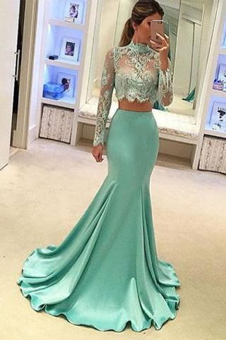 New Arrival Prom Dress,2017 light green two pieces long prom dress, mermaid lace long sleeve evening dresses,formal dresses
