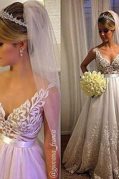 White Wedding Dresses,Wedding Gown,Lace Wedding Gowns,Lace Bridal Dress,Vintage Wedding Gowns