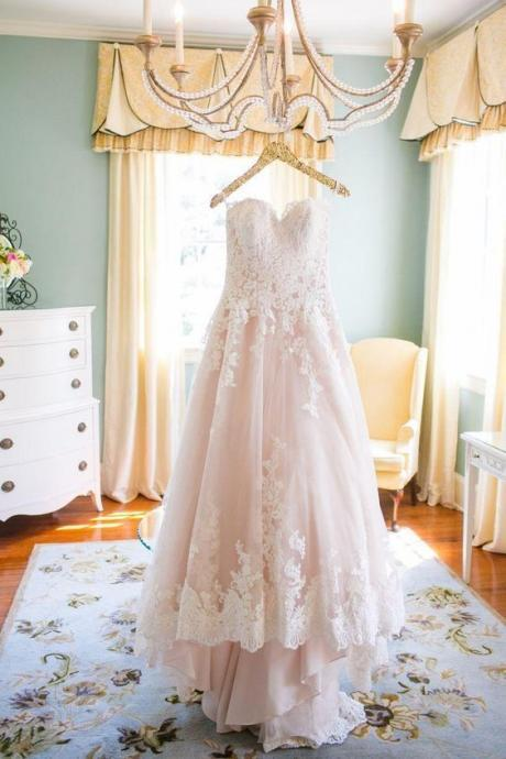 Lovely Wedding Dresses,Long Wedding Gown,Tulle Wedding Gowns,Lace Bridal Dress,Romantic Wedding Dress,Unique Blush Pink Brides Dress,Spring Wedding Gowns