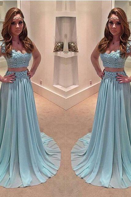 Prom Dresses,Light Blue Prom Dress,New Prom Gown,2 pieces Prom Dresses,Chiffon Evening Gowns,2 piece Evening Gown,lace Prom Gowns,cap sleeves prom dress