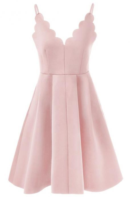 Short Blush Pink Spaghetti Strap Rippled Edge Open Back Evening Dress