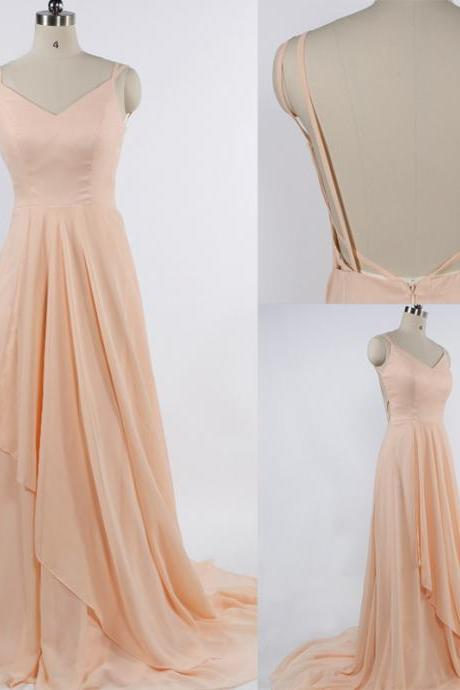 charming Prom Dress,Chiffon Prom Dress,Spaghetti Straps Prom Dress,V-Neck Evening Dress
