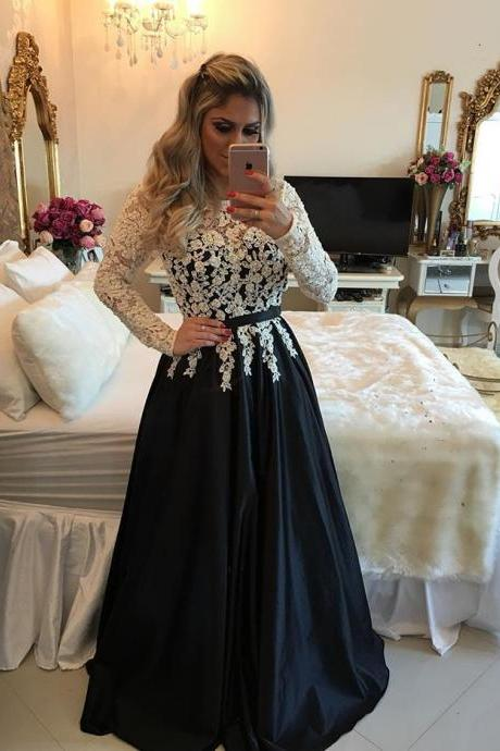 Black Prom Dresses,Prom Dress,Black Satin A Line Long Sleeve Prom Dress, Evening Gown With Lace Top