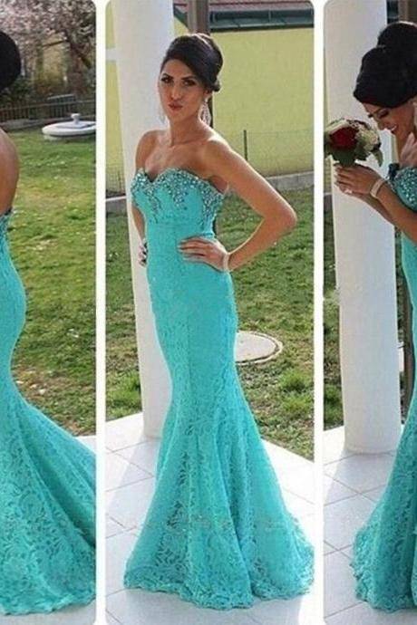 Prom Dresses,Prom Dress,Gorgeous Elegant Mermaid Lace Prom Dresses Beadings Sweetheart Evening Gowns
