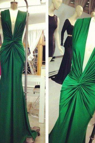 Modest Prom Dresses,Sexy New Prom Dress,Gorgeous Emerald Green Mermaid Evening Gowns 2016 Deep V Neck Ruched Sexy Long Prom Dresses