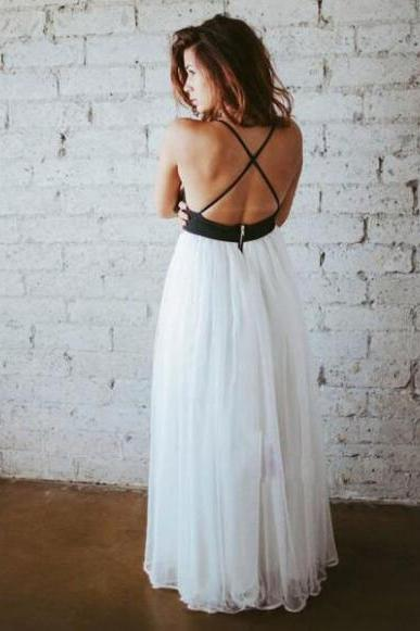 simple prom dress,v neck prom dress,long chiffon evening dress,spaghetti strap prom dress,white backless prom dress,long evening dress