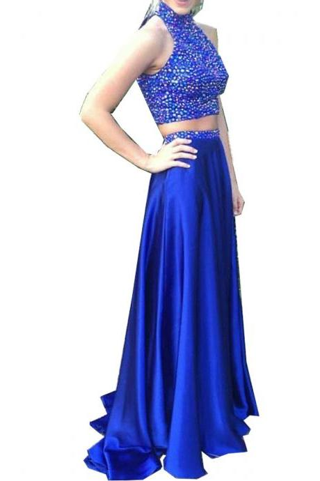 Royal Blue Prom Dresses,2 Piece Prom Gown,Two Piece Prom Dresses,Satin Prom Dresses,New Style Prom Gown
