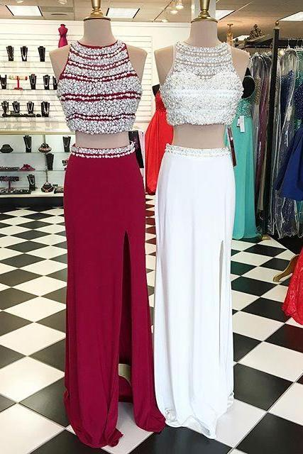 New Arrival Prom Dress,Modest Prom Dress,pearl beaded long chiffon Two Piece Prom Dresses