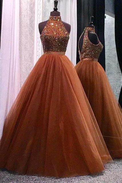 New Arrival Prom Dress,Modest Prom Dress,high neck open back coffee tulle ball gowns prom dresses crystal beaded 2017 glitter gown