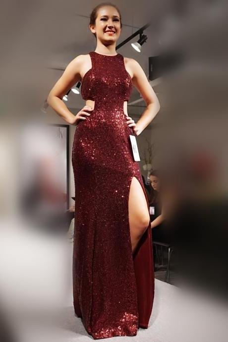 sexy halter prom dresses,long sequin gowns,mermaid prom gowns 2017,slit evening dress,sexy long formal dress