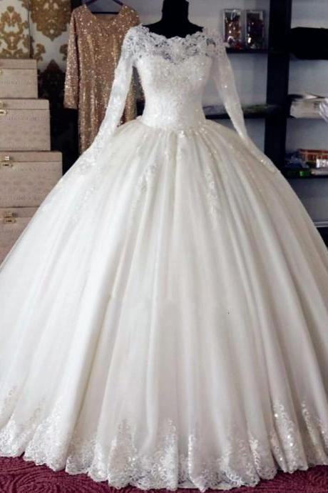 Lace Appliques Bateau Neck Long Sleeves Floor Length Tulle Wedding Gown Featuring Train