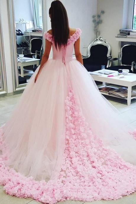 New Arrival Prom Dress,Modest Prom Dress,Sparkly Flower wedding dress,pink wedding dress,ball gown wedding dress,wedding dress