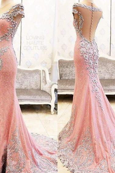 Sexy Evening Gowns Mermaid Pink Prom Dress, Pageant Prom Gown, Evening Gowns with Sweep Train